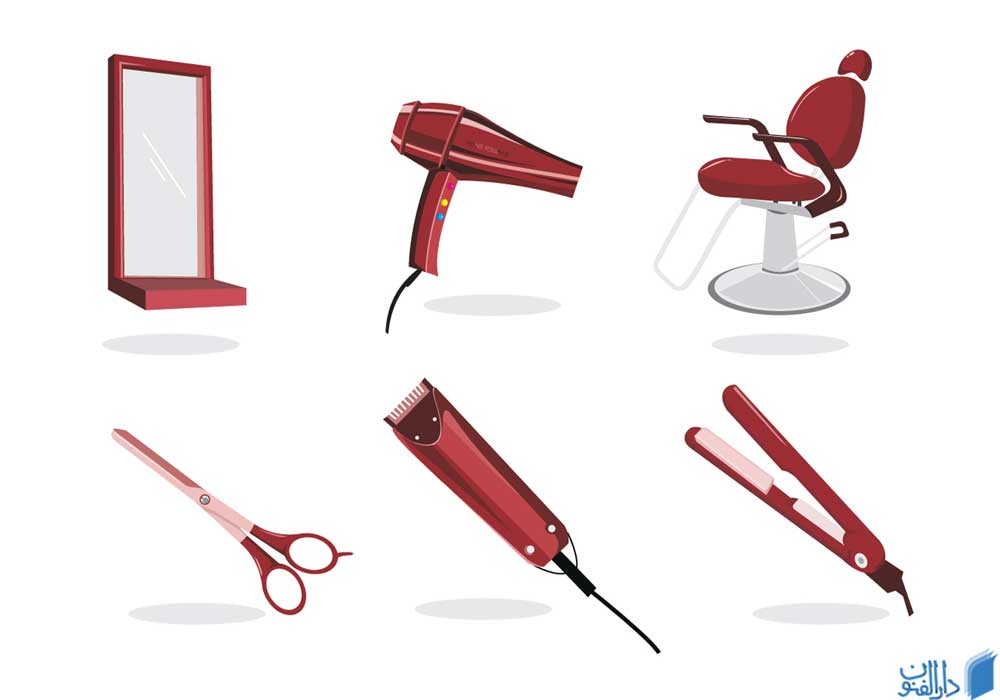 تصویر گرافیکی شماتیک از وسایل و تجهیزات مورد نیاز برای افتتاح آرایشگاه مردانه