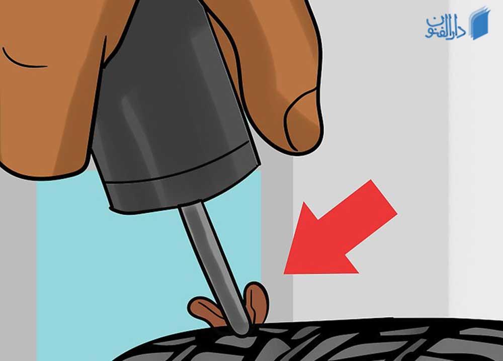 پر کردن سوراخ تایر با قطعه و ابزار مخصوص